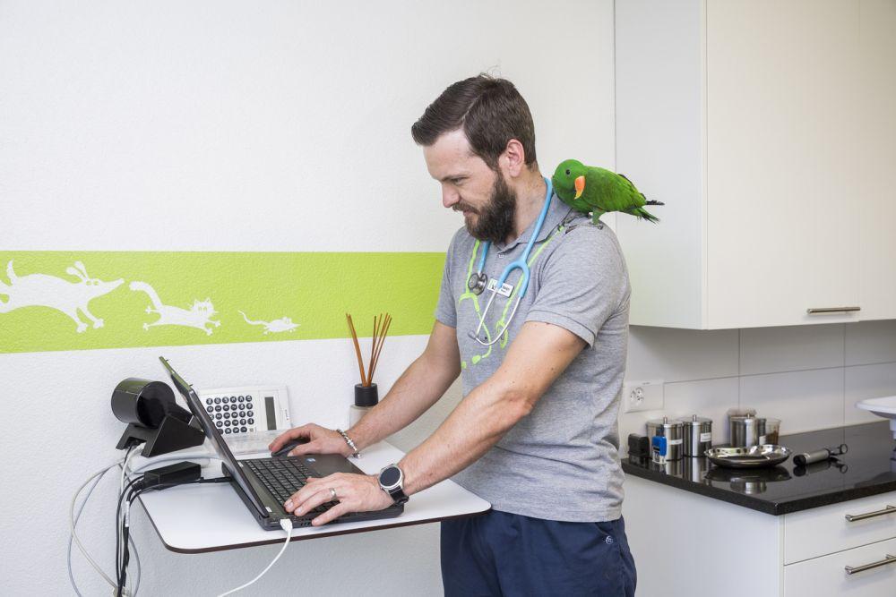 Tierarzt mit Papagei auf Schulter