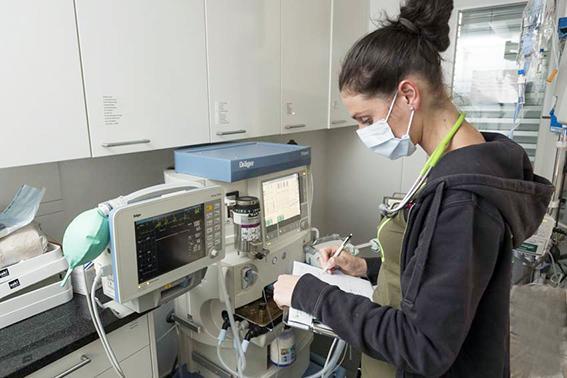 Anästhesistin mit Mundschutz überwacht den Patienten über den Monitor und trägt die Daten in das OP Protokoll